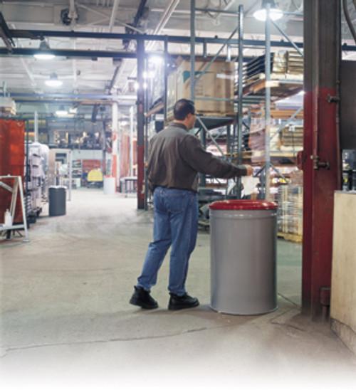 Justrite Heavy Duty Fire Waste Can - 55 Gallon - Red Steel Head