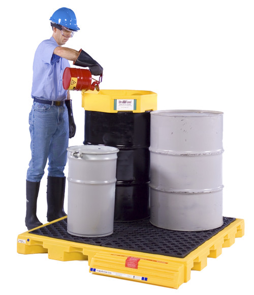 the ultra spell deck bladder systems are one-of-a-kind patented spill containment system for one two or four 55-gallon drums an optional ramp is quickly
