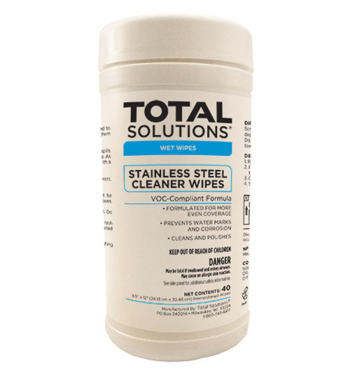 Stainless Steel Cleaner Wipes - 40 Count - 6 Canisters Per Case