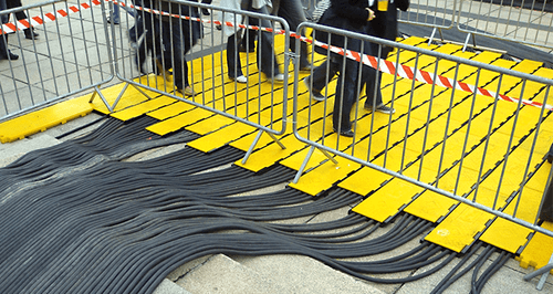 Cable Protector -  3-Channel Center Section  - Yellow/Black