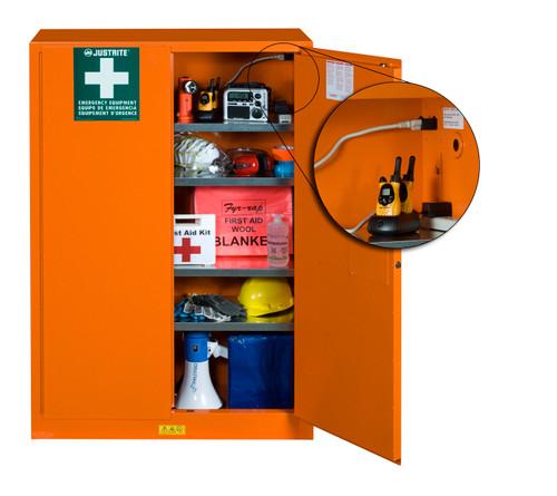 Justrite Emergency Preparedness Storage Cabinet, PowerPort™ Pass-Thru