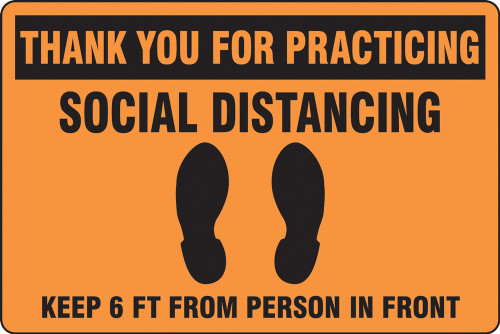 Orange Social Distancing Floor Sign
