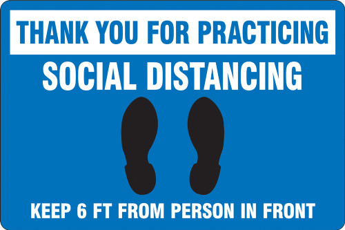 Blue Social Distancing Floor Sign