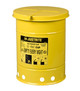 Justrite 09111 Oily Waste Can - 6 Gallon - Yellow - Hand Operated Cover