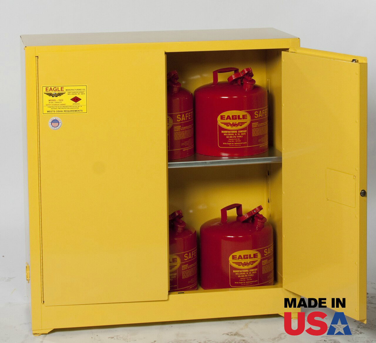 Eagle 1932 Flammable Storage Cabinet 30 Gal Manual Close