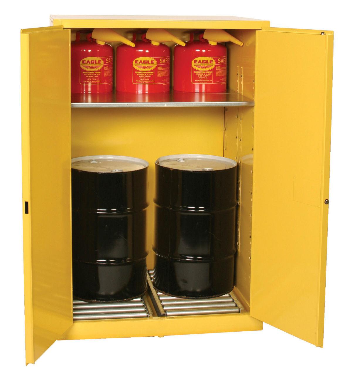 Enjoyable Eagle Haz Mat Drum Storage 60 Gallon Self Closing Safety Cabinet Beutiful Home Inspiration Ommitmahrainfo
