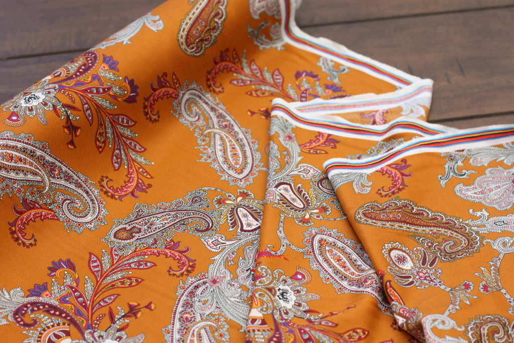 Curry Paisley Silk