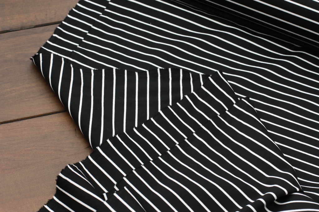 """Black 3/8"""" Stripe Ponte Knit"""