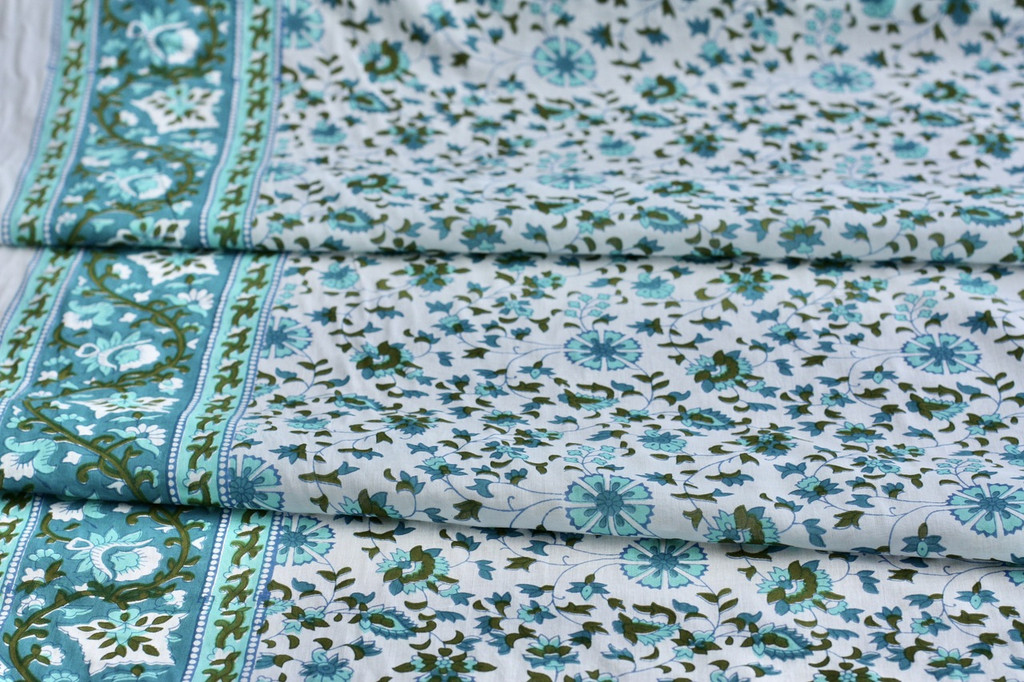 Aqua tendrils Cotton Remnant