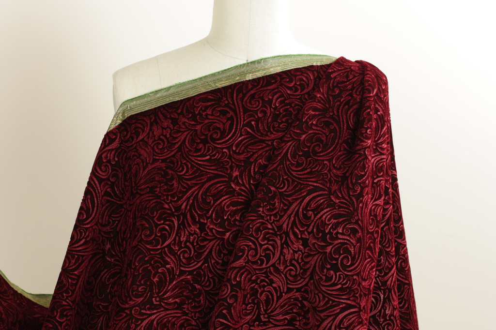 Royal Red Embossed Velvet