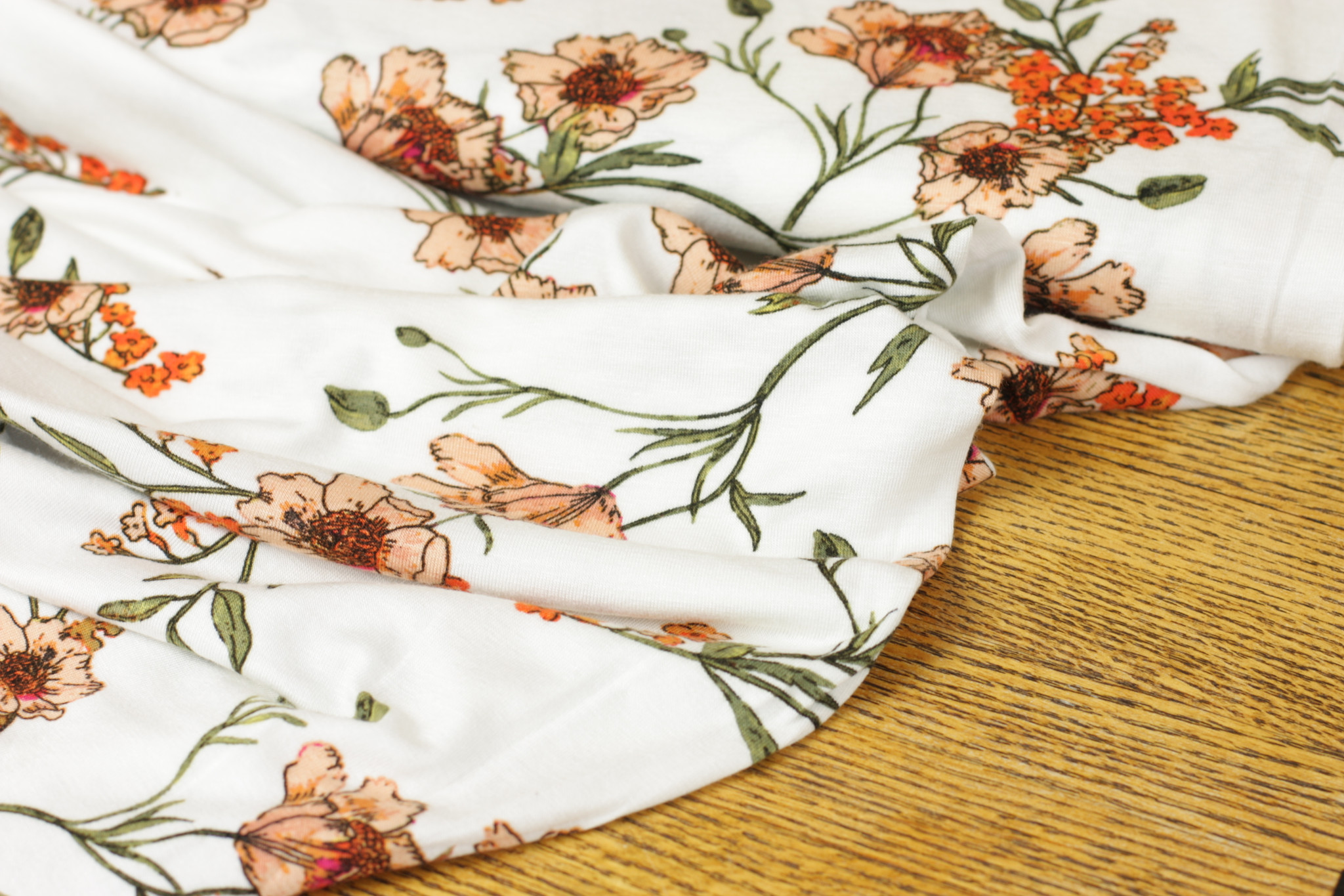 Salmon Floral Knit