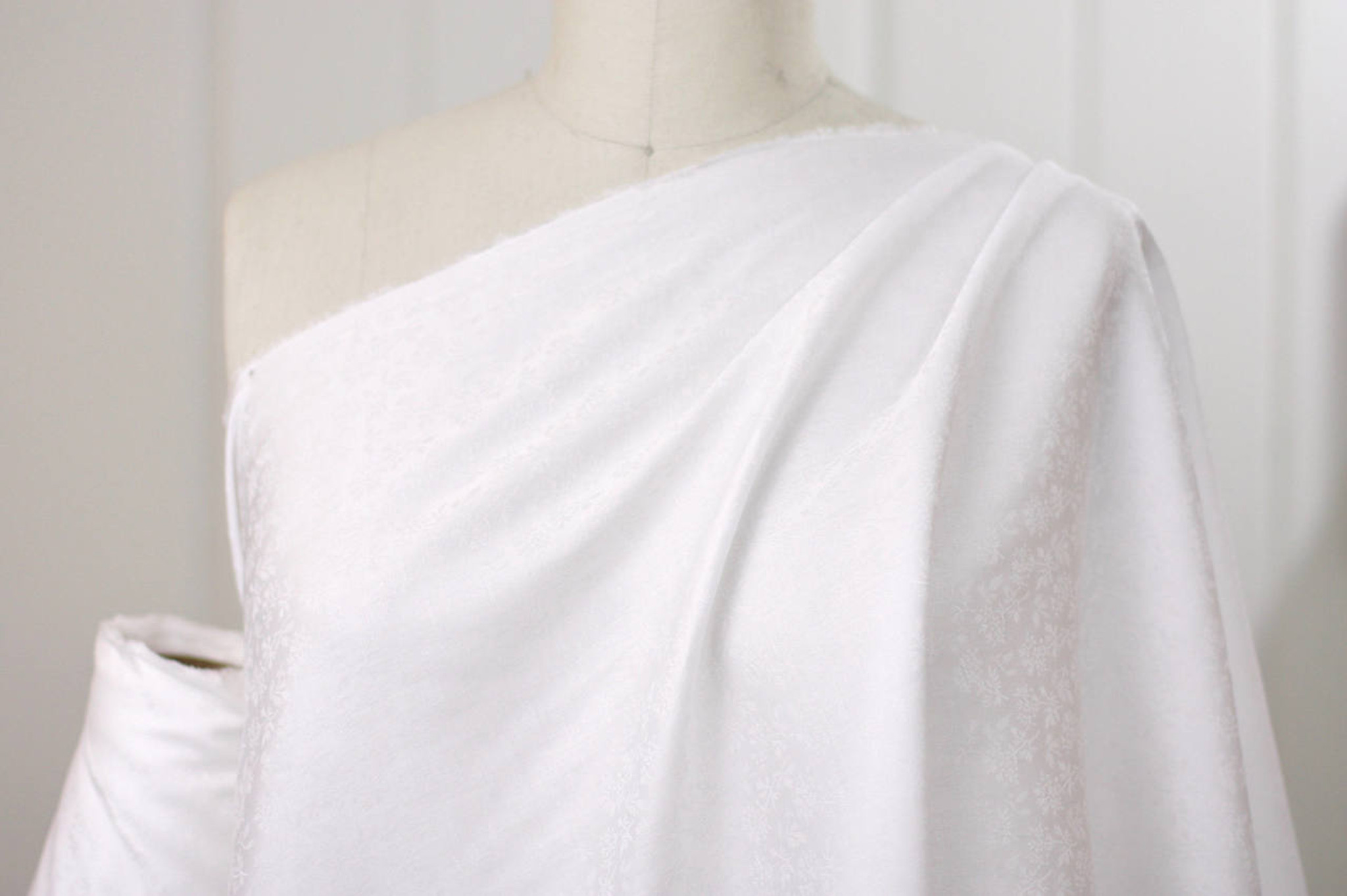 White Damask Cotton Shirting