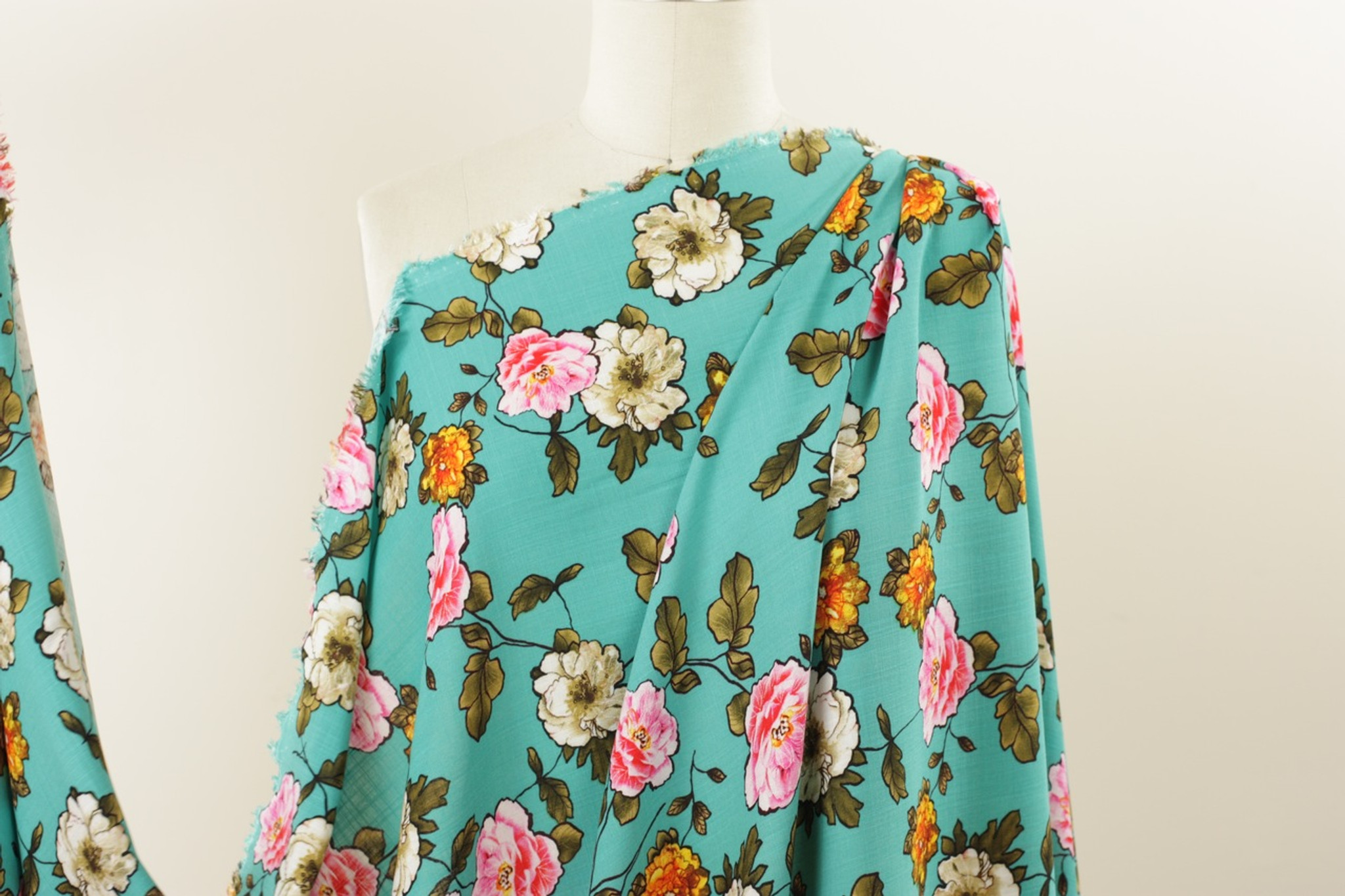 Turquoise Floral Rayon