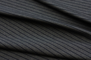 Charcoal Stripe Ponte Remnant