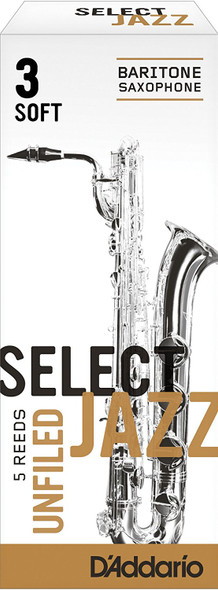 D'Addario Select Jazz Unfiled Baritone Sax Reeds, Box of 5