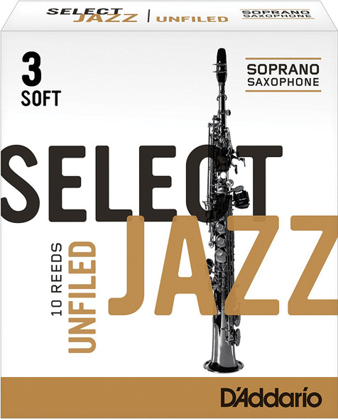 D'Addario Select Jazz Unfiled Soprano Sax Reeds, Box of 10