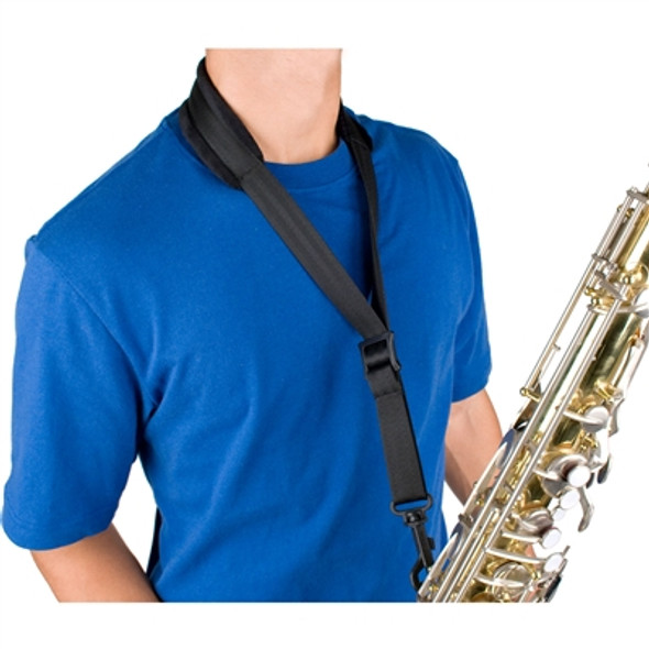 "Protec Saxophone Padded Neck Strap-24"" (Tall) W/ Plastic Snap Black"