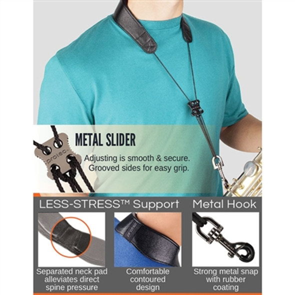 """Protec Leather """"Less-Stress"""" Neck Strap w/ Deluxe Metal Trigger Snap (Tall 24″)"""