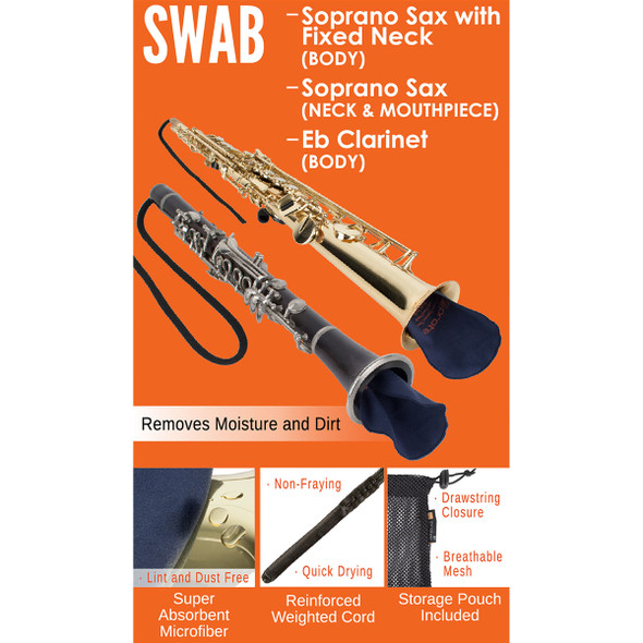 Protec Swab: Soprano Sax with Fixed Neck (Body), Soprano Sax (Neck & Mouthpiece), Eb Clarinet (Body)
