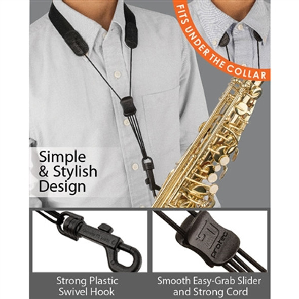 "Protec Saxophone Standard Neck Strap 24"" Tall with Plastic Snap Black"