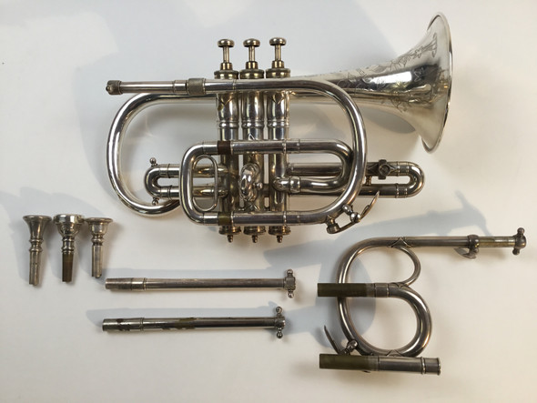 Used Henry Distin Antique Bb/C/B Cornet Kaderabek Collection (SN: 12448)
