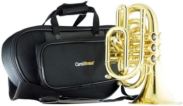 CarolBrass CPT-3000-YLS-Bb-L Light Weight Yellow Brass Big Bell Pocket Trumpet Bb