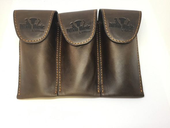 Dillon Brown Leather Triple Trumpet Mouthpiece Pouch