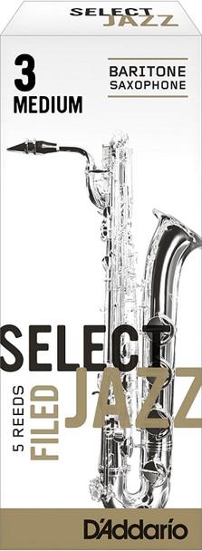 D'Addario Select Jazz Filed Baritone Sax Reeds, Box of 5