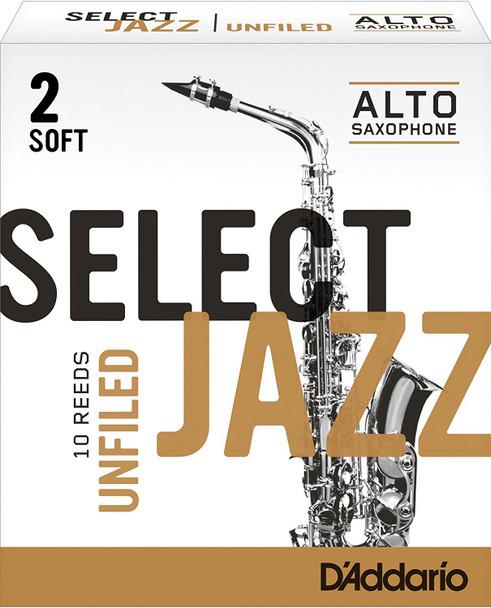 D'Addario Select Jazz Unfiled Alto Sax Reeds, Box of 10