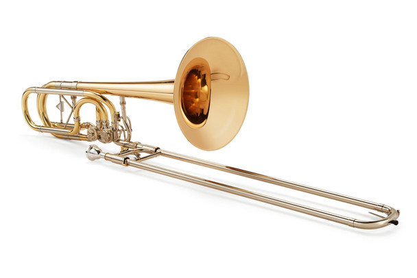 """Kuhnl and Hoyer Bb/F/Gb/D-Bass Trombone """"Orchestra symphonic"""" with """"open flow""""-valves"""