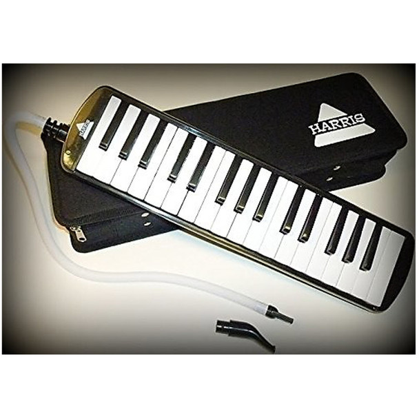 Harris Musical Deluxe Black Melodica with Matching Black Deluxe Case With Free AAA Musical Polishing Cloth