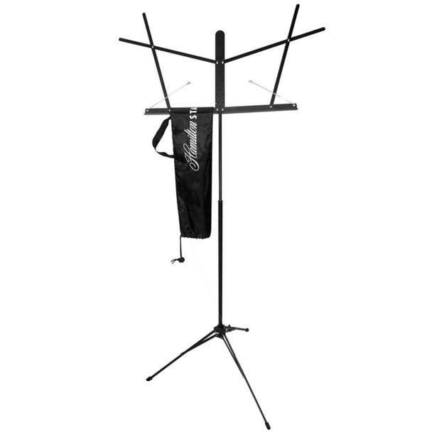 Hamilton Music Stand ,Folding w/Clutch.Black w/bag