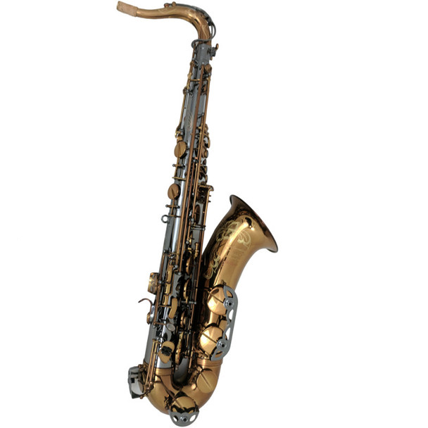 The Growling Sax Origin Series Professional Tenor Saxophone, Black Nickel and brown gold lacquer