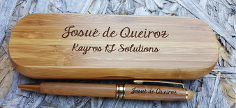Personalized Bamboo Pen and Bamboo Case