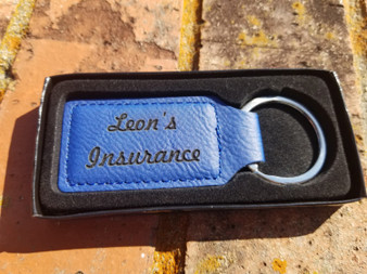 Personalized Engraved Leather Rectangular Keychain, Keyring, Key FOB, Key Holder, Key Clip