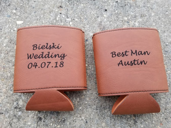 Personalized Engraved Leather Beverage Holder, Custom Can Holder, Wedding Favors, Can Cooler, Bridesmaid Gift, Groomsman Gift, Wedding Gifts