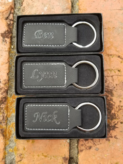 Personalized Black/Silver Leather Keyring