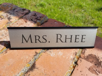 2x8 Personalized Engraved Office Desk Name Plate with Black Holder, Employee Desk Name Sign, Name Plaque, Custom Desk Name Plaque