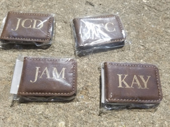 Personalized Engraved Leather Money Clip, Groomsman Gift, Wedding Party Gift, ID Card Holder, Credit Card Holder, Wedding Gift
