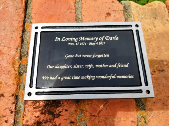 Personalized Engraved Black Outdoor Plaque w/ Screws, Memorial Plaque, Garden Plaque, Building Plaque, Bench Plaque, Custom Plaque