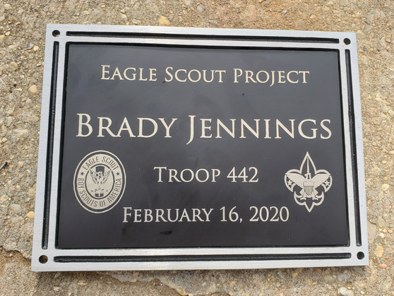 Personalized Engraved Eagle Scout Plaque, Black Outdoor Plaque w/ Screws, Memorial Plaque, Garden Plaque, Building Plaque, Bench Plaque