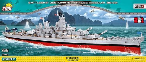 COBI-4812 1/300 BATTLESHIP USS IOWA/USS MISSOURI (2410 PIECES)