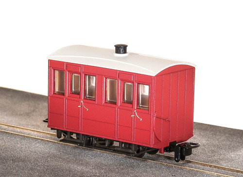 GR-500UR OO9 GLYN VALLEY TRAMWAY ENCLOSED SIDE COACH RED UNLETTERED