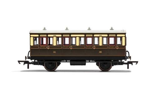 R40111 OO 143 4W 1ST CLASS GWR CHOCOLATE/CREAM WITH LIGHTS