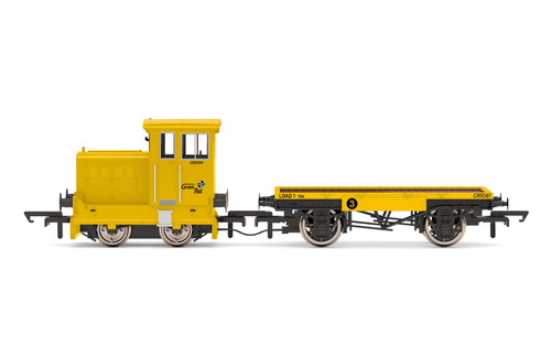 R3853 OO GR5090 RUSTON/HORNSBY 48DS 4WDM GRANT RAIL + FLATBED WAGON