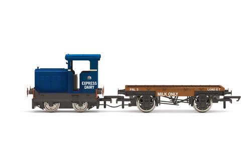 R3943 OO RUSTON/HORNSBY 48DS 4WDM EXPRESS DAIRY + FLATBED WAGON