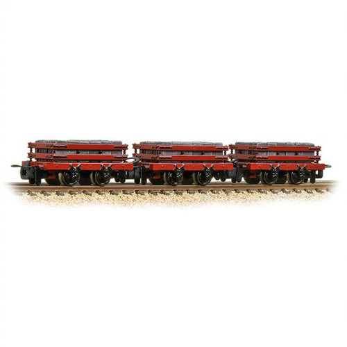 393-076 OO9 4 WHEEL SLATE WAGONS (3) RED WITH LOAD