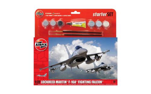 A55312 1/72 GENERAL DYNAMICS F-16 FIGHTING FALCON STARTER SET PLASTIC KIT
