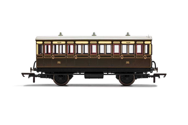 R40112 OO 1889 4W 3RD CLASS GWR CHOCOLATE/CREAM WITH LIGHTS