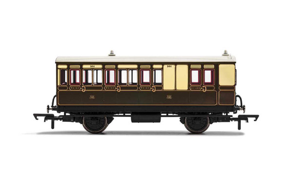 R40114 OO 301 4W BRAKE 3RD CLASS GWR CHOCOLATE/CREAM WITH LIGHTS
